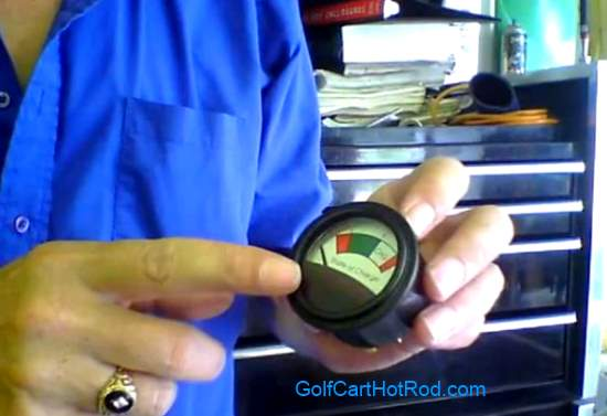 golf cart battery state of charge meter video