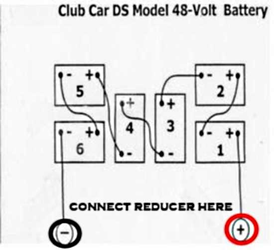 where to hook up 48v to 12v voltage reducer converter club car ds rh golfcarthotrod com 2000 club car ds 48 volt wiring diagram Club Car Golf Cart Wiring Diagram 36 Volts