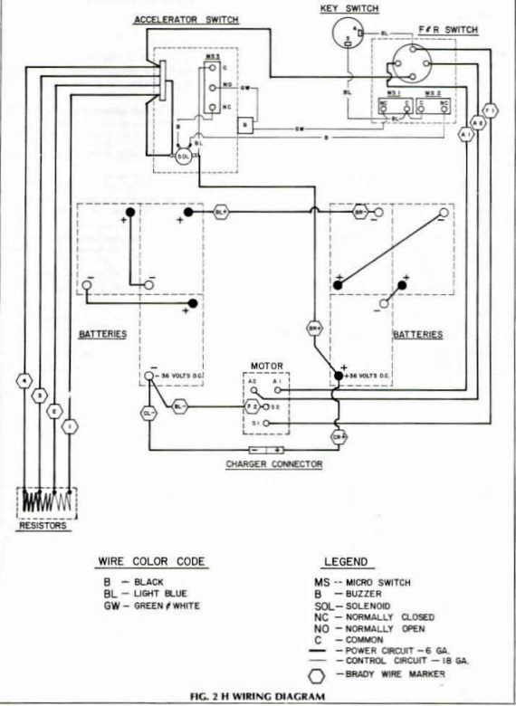 wiring diagram for 1981 and older ezgo models with resistor speed, Wiring diagram