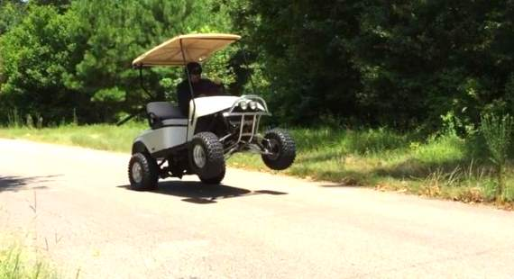 Wheelie Suzuki GSX-R 750  EZGO golf cart
