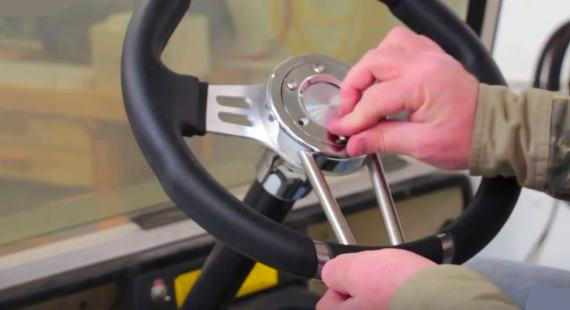 Install Yamaha golf cat steering wheel